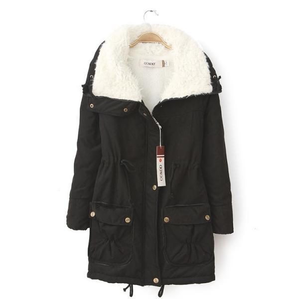 Winter Women Thick Long Fleece Coat Warm Turn Down Collar Fashion Parka Jackets Female Outerwear black