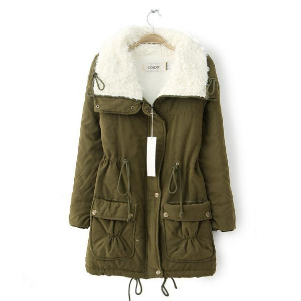 Winter Women Thick Long Fleece Coat Warm Turn Down Collar Fashion Parka Jackets Female Outerwear army green