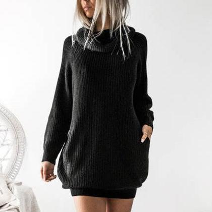 Black Knitted Turtleneck Long Cuffed Sleeves Short Sweater Dress