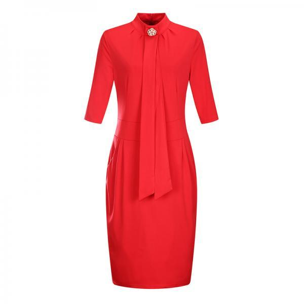 Women Plus Size Office Dress Stand Collar Half Sleeve Wear to Work Sheath Pencil Dress red