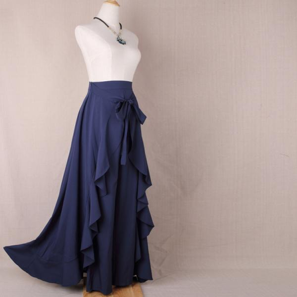 Women Wrap Skirts New Casual Fashion Tie-Waist Ruffles Wide Leg Loose Pants navy blue
