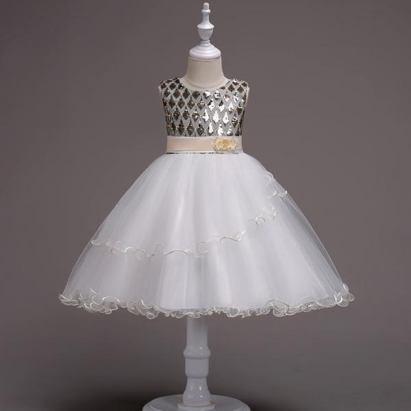 Sequin Flower Girl Dress Sleeveless Kids Birthday Perform Party Ball Gown Children Clothes champagne