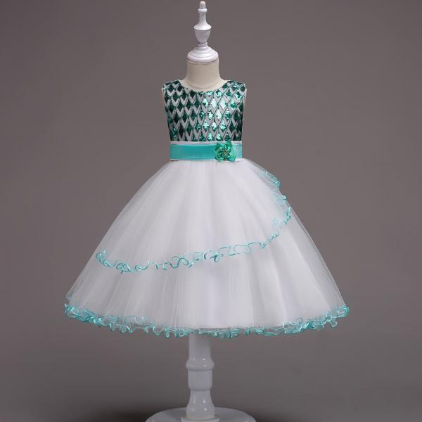 Sequin Flower Girl Dress Sleeveless Kids Birthday Perform Party Ball Gown Children Clothes green