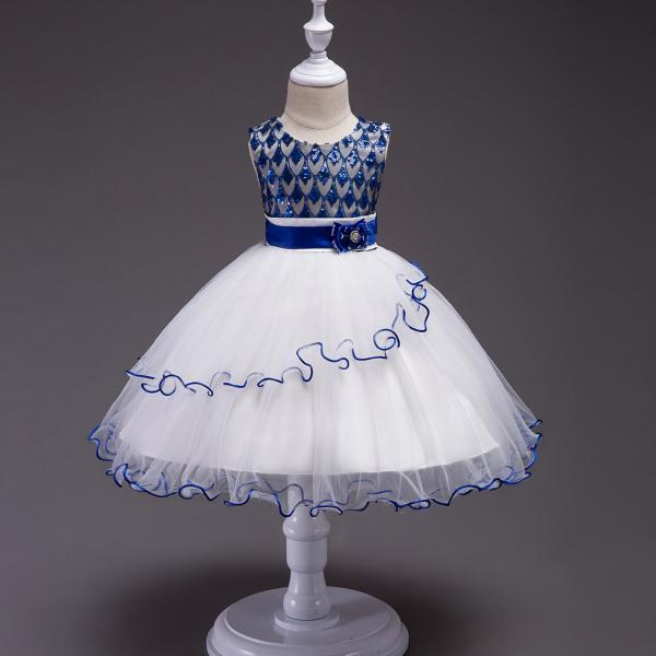 Sequin Flower Girl Dress Sleeveless Kids Birthday Perform Party Ball Gown Children Clothes royal blue