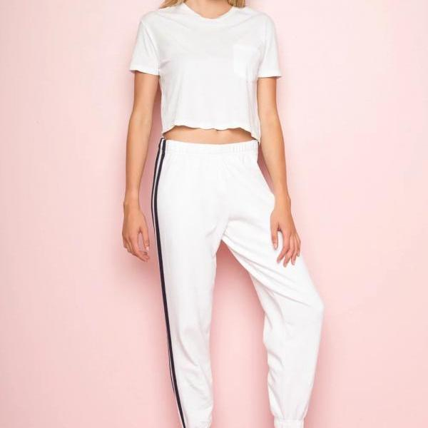 White Casual High-Waist Elasticised Trousers, Joggers with Side Black Stripe