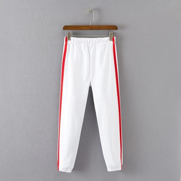 Women High Waist Elastic Striped Patchwork Sport Harem Pants Female Casual Loose Trousers white+red