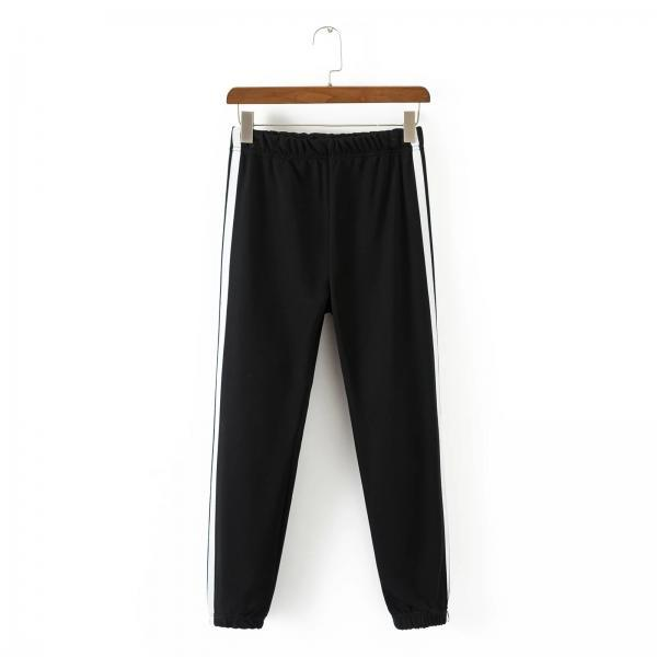 Women High Waist Elastic Striped Patchwork Sport Harem Pants Female Casual Loose Trousers black+white