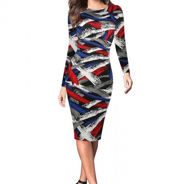 Women Long Sleeve Work Party Dress Graffiti Printed Plaid Knee Length Bodycon Pencil Dress colorful