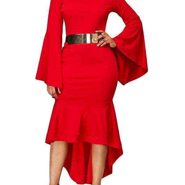 Women Bodycon Mermaid Work Dress Flare Long Sleeve O Neck Belted High Low Club Party Dress red