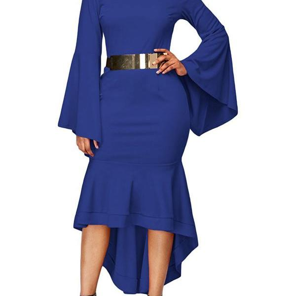 Women Bodycon Mermaid Work Dress Flare Long Sleeve O Neck Belted High Low Club Party Dress royal blue