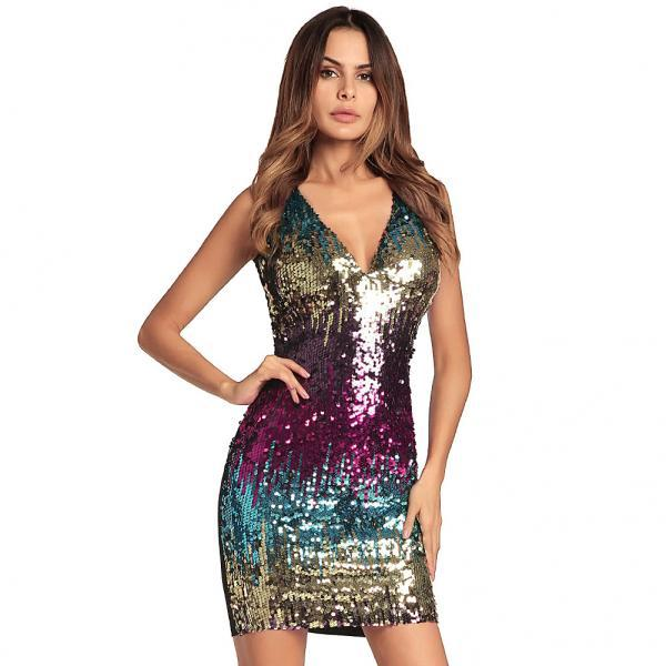 Colorful Sequin Mini Dress Sexy V Neck Sleevless Bodycon Party Night Club Dress blue