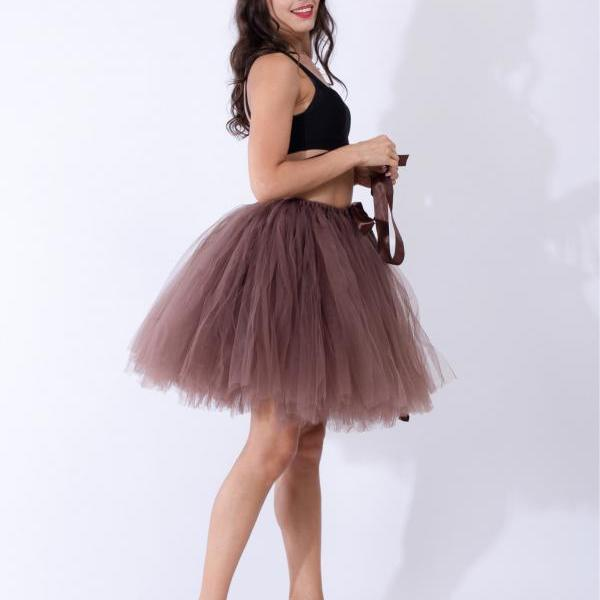 Midi Tulle Skirt Elegant Wedding Bridal Bridesmaid Women TUTU Skirt Lolita Petticoat coffee