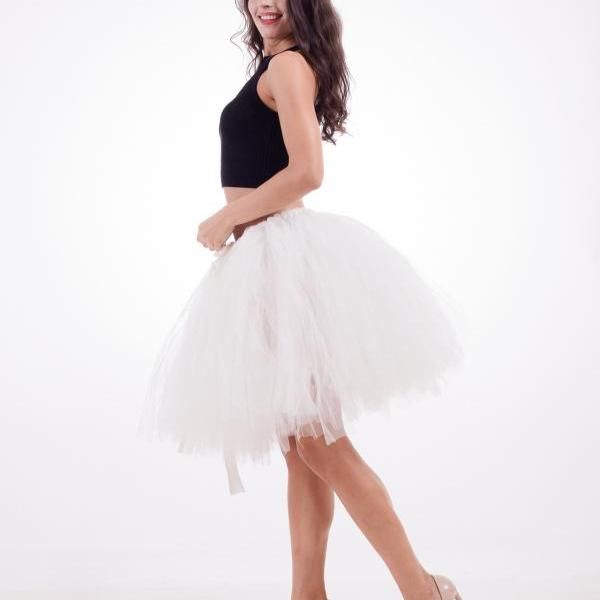 Midi Tulle Skirt Elegant Wedding Bridal Bridesmaid Women TUTU Skirt Lolita Petticoat ivory