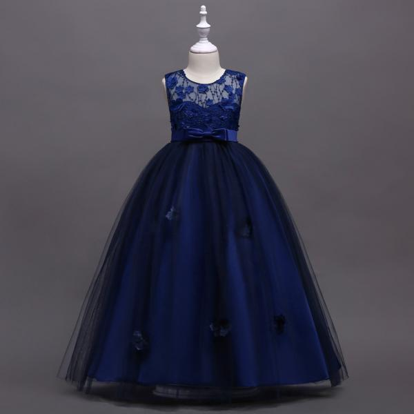 Long Flower Girl Dress Teen Kids Formal Party Wedding Birthday Gown Children Clothes navy blue
