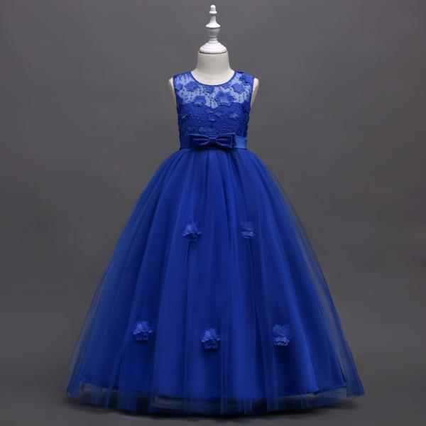 Long Flower Girl Dress Teen Kids Formal Party Wedding Birthday Gown Children Clothes royal blue
