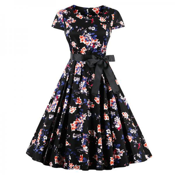 Vintage Floral Pleated Dress Women Square Collar Belted Cap Sleeve Summer Party Dress2#