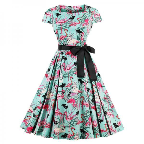 Vintage Floral Pleated Dress Women Square Collar Belted Cap Sleeve Summer Party Dress3#