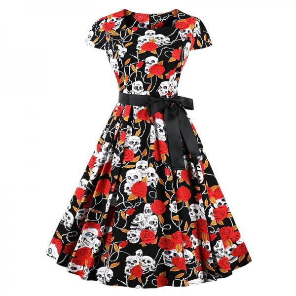 Vintage Floral Pleated Dress Women Square Collar Belted Cap Sleeve Summer Party Dress4#