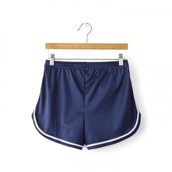 Summer Girl Casual Shorts Women Mini Side Striped Elastic High Waist Leisure Sport Shorts navy blue