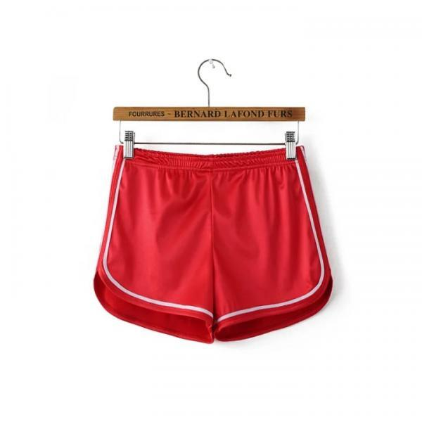 Summer Girl Casual Shorts Women Mini Side Striped Elastic High Waist Leisure Sport Shorts red