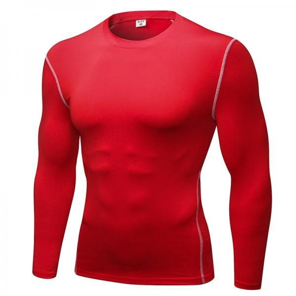 Men Pro Quick Dry Fitness Sport Run Yoga Exercise GYM Top Compression Tee Basketball Workout Hiking Board T Shirt red