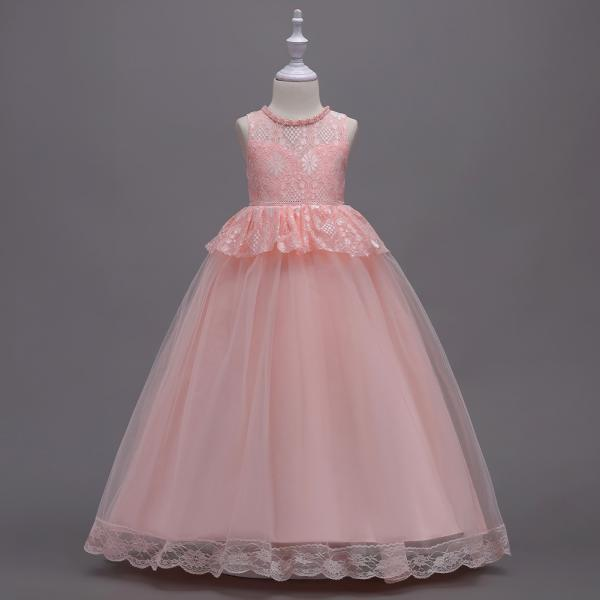 Long Lace Flower Girl Dress Princess Teens Wedding Formal Party Gown Children Clothes pink