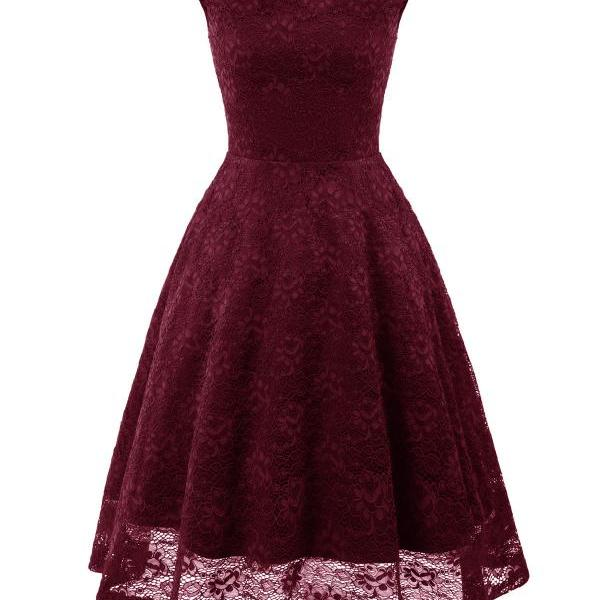 Vintage Floral Lace Dress Sleeveless A-Line Office Cocktail Party Club Dress burgundy