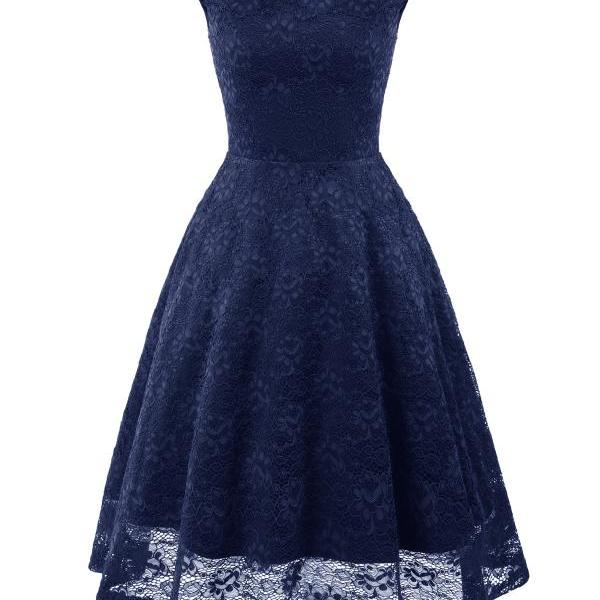 Vintage Floral Lace Dress Sleeveless A-Line Office Cocktail Party Club Dress navy blue