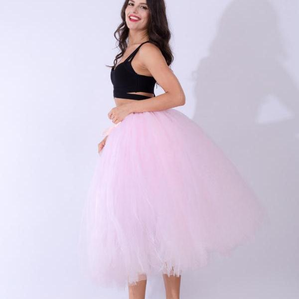 Women Puffy Tutu Skirts Long Tea Length Tulle Skirt Wedding Bridesmaid Lolita Under skirt pink