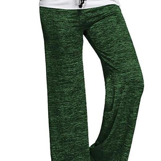 Women Wide Leg Pants Mid Waist Drawstring Long Sweatpants Casual Loose Straight Trousers green