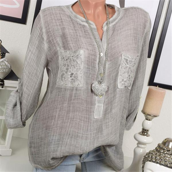 2018 Spring Plus Size Blouse Women Lace Tops Long Sleeve Casual Loose OL Ladies Shirts gray