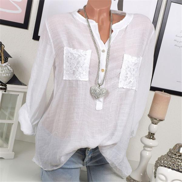 2018 Spring Plus Size Blouse Women Lace Tops Long Sleeve Casual Loose OL Ladies Shirts off white