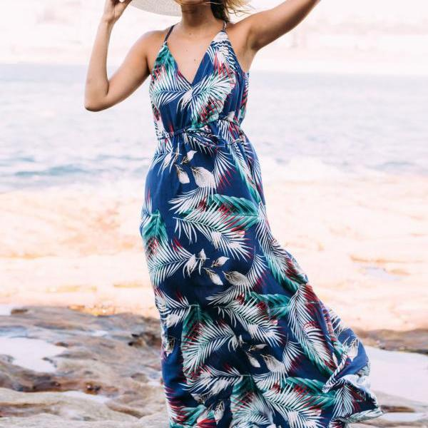 Bohemian Dress V Neck Spaghetti Strap Leaves Printed Women Summer Beach Maxi Dress3#