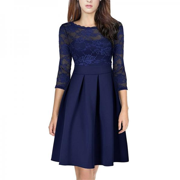 Elegant Lace Patchwork Dress Vintage 3/4 Sleeve Women A Line Cocktail Party Dress navy blue