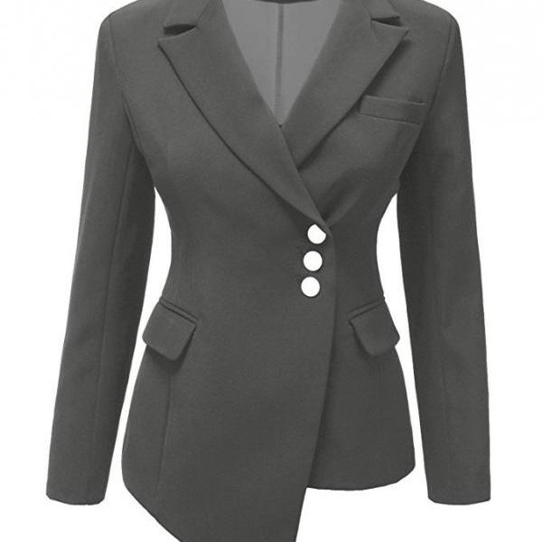 Fashion Slim Asymmetrical Women Suit Coat Buttons Long Sleeve Solid Lady Short Casual Jacket dark gray