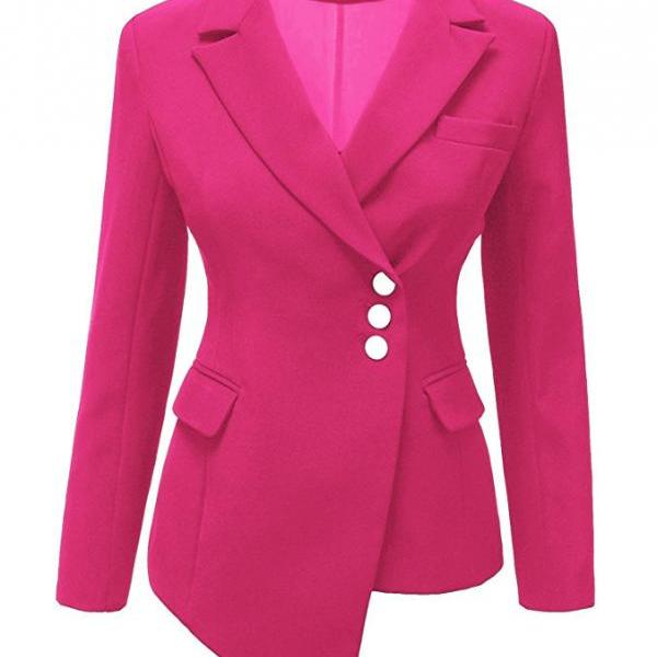 Fashion Slim Asymmetrical Women Suit Coat Buttons Long Sleeve Solid Lady Short Casual Jacket hot pink
