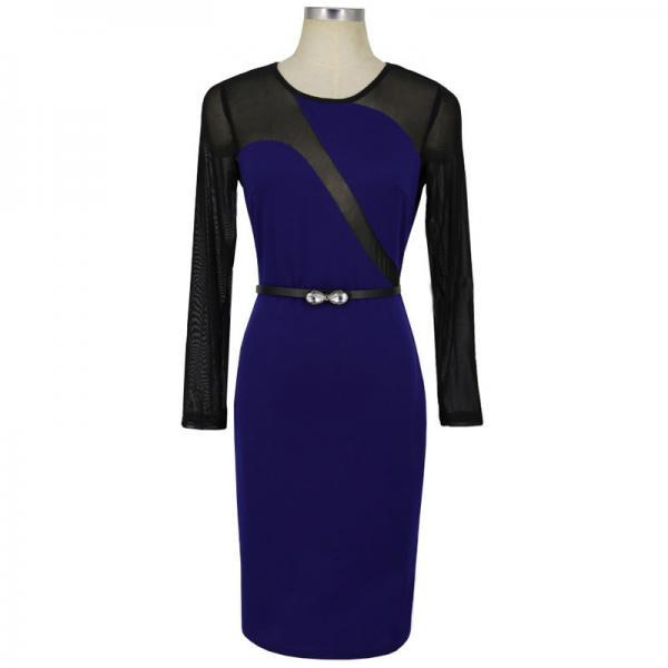 Sexy Mesh Patchwork Pencil Dress O Neck Long Sleeve Belted Bodycon Party Dress royal blue