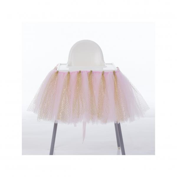 Tutu Tulle Table Skirts High Chair Decor Baby Shower Decorations for Boys Girls Party Set Birthday Party Supplies pink+gold