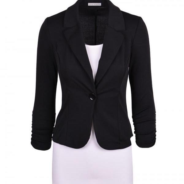 Fashion Spring Women Slim Blazer Coat Long Sleeve One Button Casual Suit Jacket Ladies Work Wear black