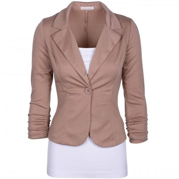Fashion Spring Women Slim Blazer Coat Long Sleeve One Button Casual Suit Jacket Ladies Work Wear khaki