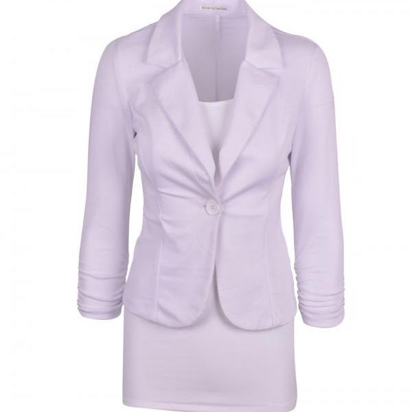 Fashion Spring Women Slim Blazer Coat Long Sleeve One Button Casual Suit Jacket Ladies Work Wear off white