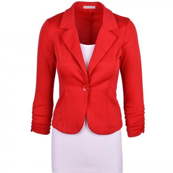 Fashion Spring Women Slim Blazer Coat Long Sleeve One Button Casual Suit Jacket Ladies Work Wear red