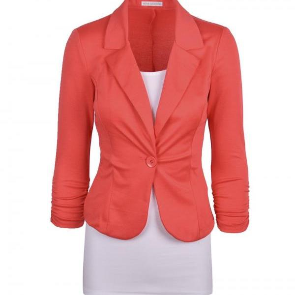 Fashion Spring Women Slim Blazer Coat Long Sleeve One Button Casual Suit Jacket Ladies Work Wear watermelon red