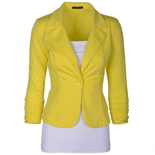 Fashion Spring Women Slim Blazer Coat Long Sleeve One Button Casual Suit Jacket Ladies Work Wear yellow