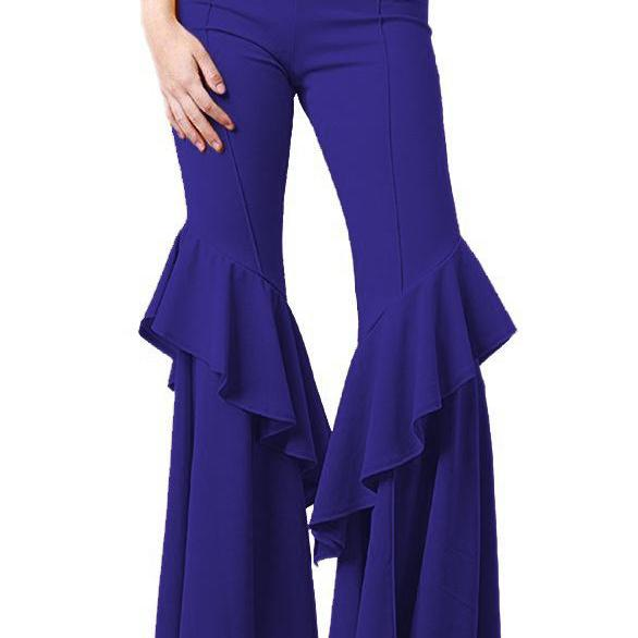 Fashion Women Flare Pants Stretch High Waist Solid Ruffles Wide Leg Long Trousers royal blue