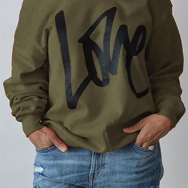 Women Hoodies Sweatshirt Spring Girls LOVE Letter Printed Long Sleeve Sexy Off The Shoulder Pullover army green