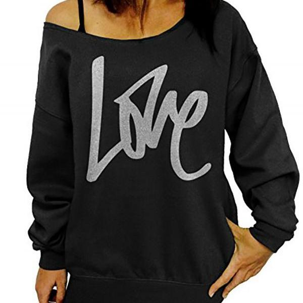 Women Hoodies Sweatshirt Spring Girls LOVE Letter Printed Long Sleeve Sexy Off The Shoulder Pullover black