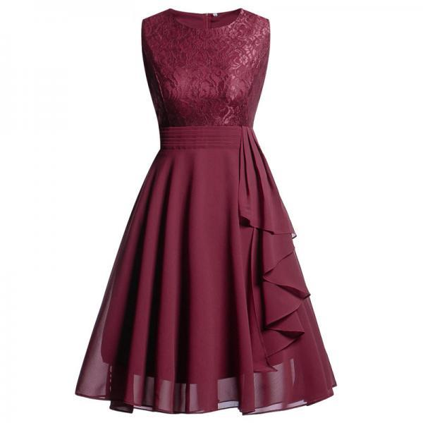 Vintage Ruffle Chiffon Dress Women Lace Patchwork A Line Evening Casual Party Dress burgundy