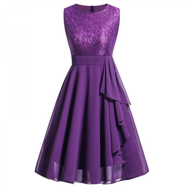 Vintage Ruffle Chiffon Dress Women Lace Patchwork A Line Evening Casual Party Dress purple
