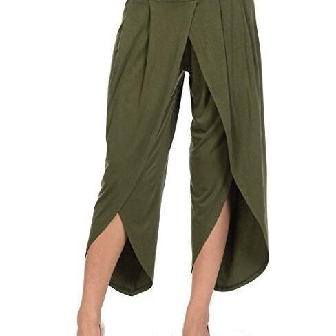 New Irregular Wide Leg Pants Women Fashion Cross Split Ladies Solid Casual Comfortable Loose Trousers army green